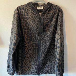 Saint Laurent Paris Leopard Print Hooded Bomber.